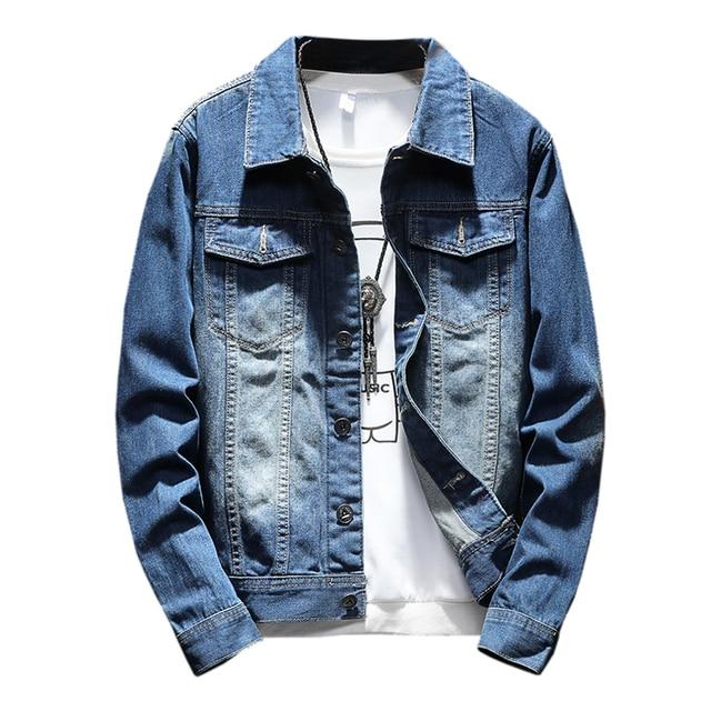 2c4b877e3a6 2018 New Solid color Men Denim Jacket Fashion Spring and Autumn Men s  Simple Washed Slim Fit Retro Black Jeans Jacket Coat