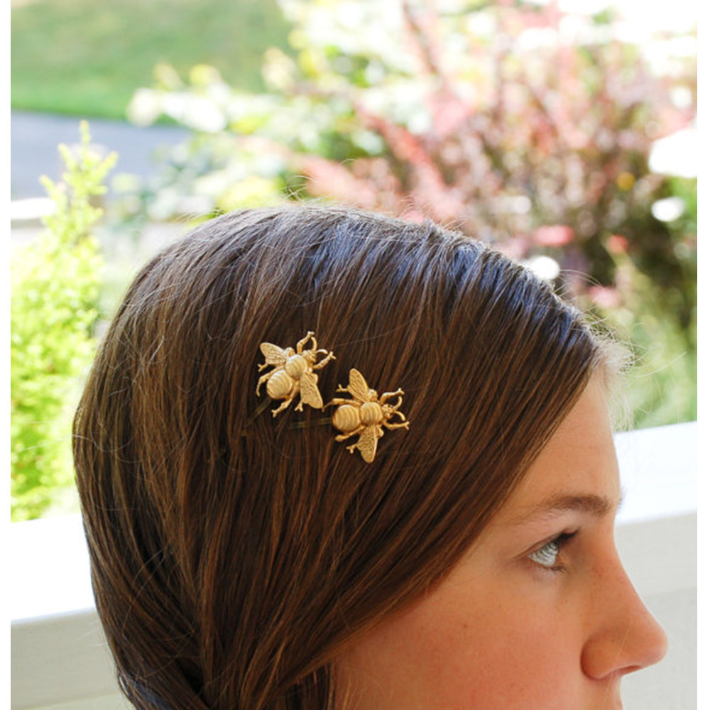 Cute Barrettes Golden Bees hair clips hairpins For Women tiaras hair Claws fashion jewelry barrette bijoux de tete CF148