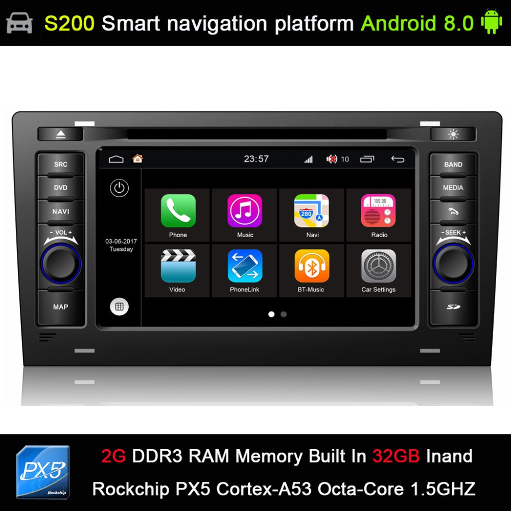 Système Android 8.0 PX5 Octa 8 cœurs CPU 2G Ram 32 GB Rom voiture DVD Radio GPS Navigation pour Audi A8 S8 1994-2003