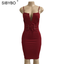 Sibybo New Summer Bandage Bodycon Dress 2017 Deep V Neck Lace Up Midi Halter Sexy Sleeveless Club Party Dresses Vestidos