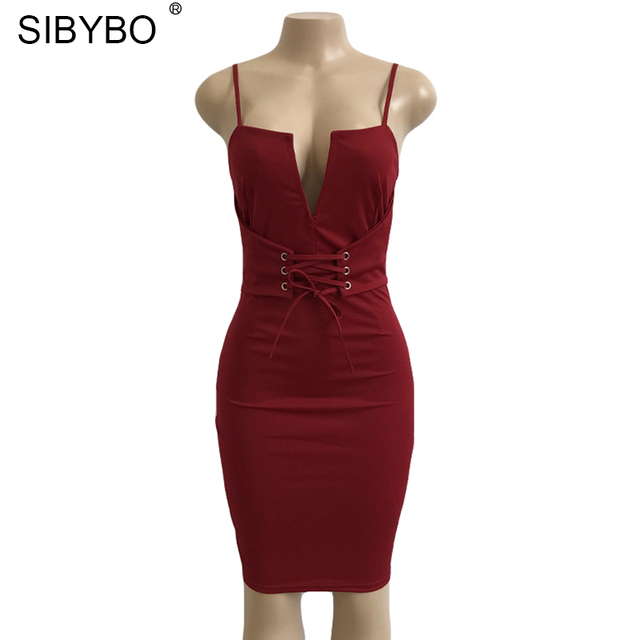 Sibybo New Summer Bandage Bodycon Dress 2017 Deep V Neck Lace Up Midi Halter Sexy Sleeveless Club Party Dresses Vestidos