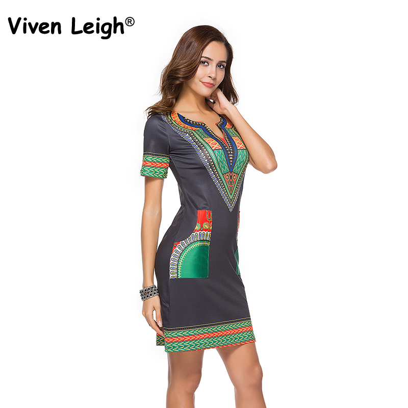 Viven Leigh Women Africaine Print Bodycon Sexy Dashiki Dress Traditional  African Clothes Plus Size 2018 Summer Dress bazin riche fb5a3ae9f7c9
