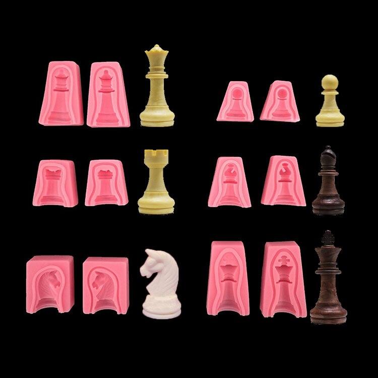 Échecs Silicone moule 3D gâteau International échecs roi reine chevalier Rook pion évêque moule Silicone Fondant gâteau chocolat moules