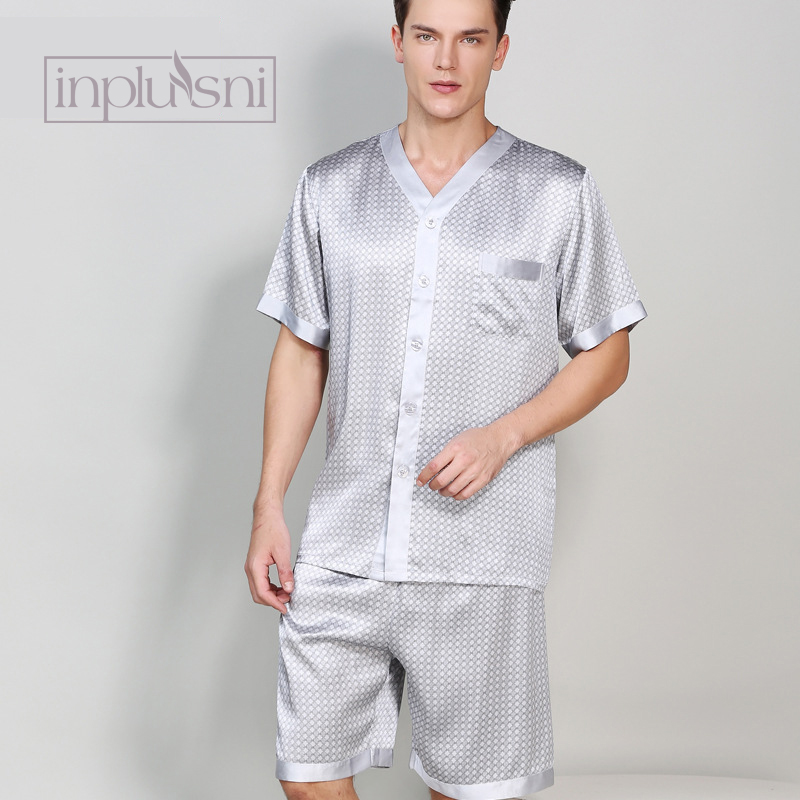 Inplusni In The Summer Of Silk Pajama Man Mulberry Silk Homewear Pajama Set