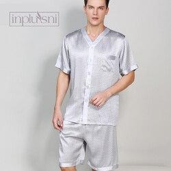 Inplusni Летняя шелковая пижама Мужская шелковая Домашняя одежда пижамный комплект