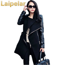 2018 Winter&Fall  Fashion women coat Patchwork Womens Long Wool PU Leather Sleeve Jacket Coat Windbreaker Laipelar Women Tops