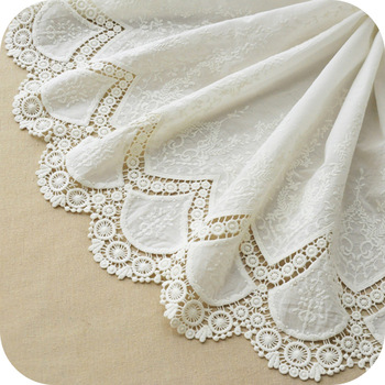 High Quality White Embroidered Cotton Lace Fabric Lace Fabric Lace Cloth for Patchwork Sewing Dress Skirt Doll