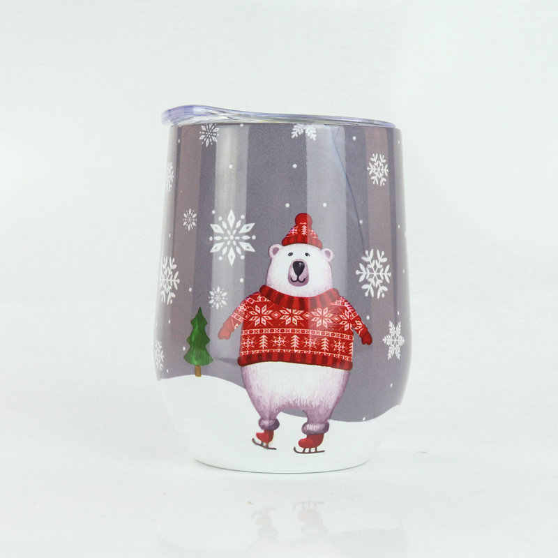 Free Custom Red Wine Glass Ice Beer Mug Cold  Cup 9oz Stainless Steel Vacuum flask Office Drinking Water Christmas Gift Q31