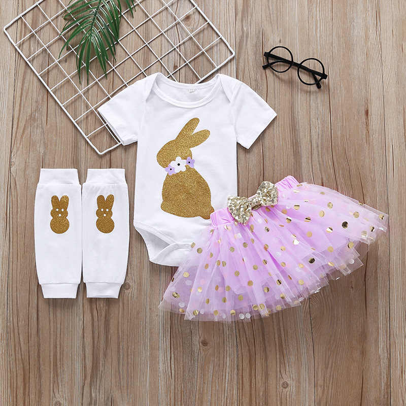 3 Pieces Sets Newborn Infant Baby Girl Clothing 2019 Spring Autumn Cotton Rabbit Print Toddler Bodysuit+Tutu Skirt+Tights Pants