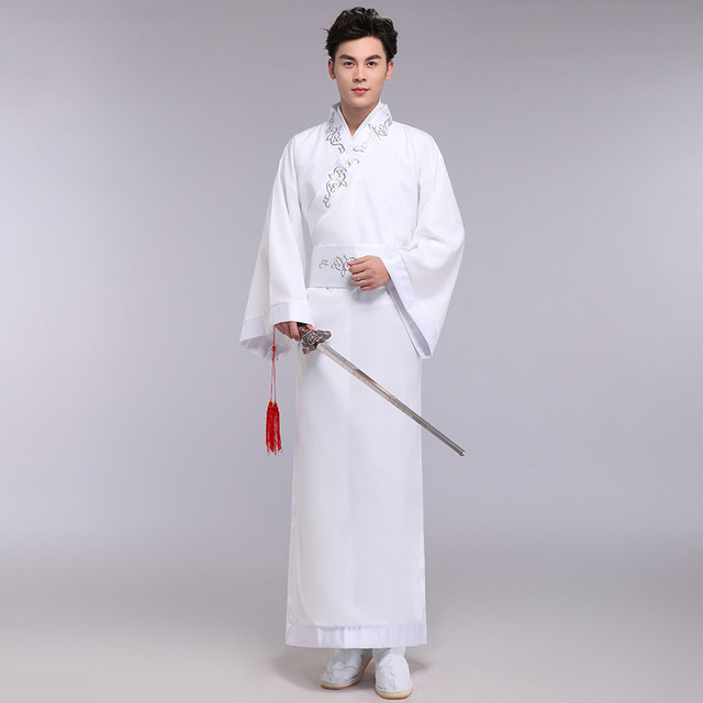 1babb7dc90 Ancient chinese Wear men stage performance outfit for dynasty men hanfu  white robe chinese traditional men long gown costume