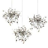 Terzani Argent Lighting Hand Made Stainless Steel Leaf Chandelier Lamp For Living Room Bedroom Home Deor