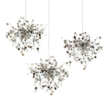 terzani argent lighting hand made  stainless steel leaf chandelier lamp for living room/bedroom home deor lighting 2 eau d argent