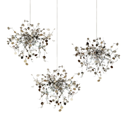 terzani argent lighting hand made stainless steel leaf chandelier lamp for living room/bedroom home deor lighting