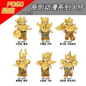 Image 4 - Saint seiya ouro saint athena shiryu geleira anime japonês constelação figura tijolos blocos brinquedos compatíveis com lego