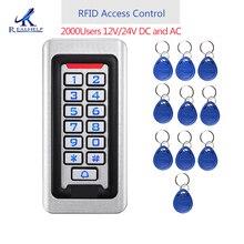2000 ให้คะแนนโลหะสแตนเลส RFID Access Control IP68 กันน้ำกลางแจ้ง Card Reader ความปลอดภัย 12V/24V DC และ AC