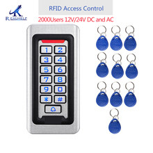 2000 משתמשים מתכת נירוסטה RFID בקרת גישה לוח מקשים IP68 עמיד למים בחוץ כרטיס קורא אבטחת 12V/24V DC ו AC