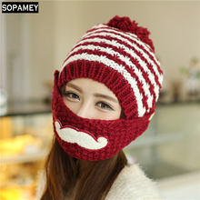 Knit Scarf Cap Neck Warmer Winter Hats For Women Autumn Female Hat The Knitting Wool Cap Beard Mask With Scarf Ear Warm Bonnet