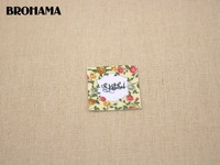 70 Custom Logo Labels Square Flower Label Custom Clothing Labels Name Tags White Organic Cotton TB034