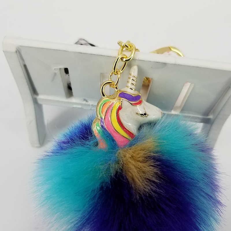 Unicórnio chaveiros pokemon keyring brilhante à noite bolas macias jóias pingentes para sacos decoração carro chave acessórios do telefone