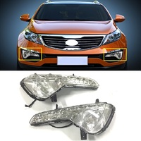 2Pcs ABS LED Daytime Running Lights 12V DRL FIT For KIA Sportage Pickup Car 2010 2013 White fog lamp cover Car Accessories