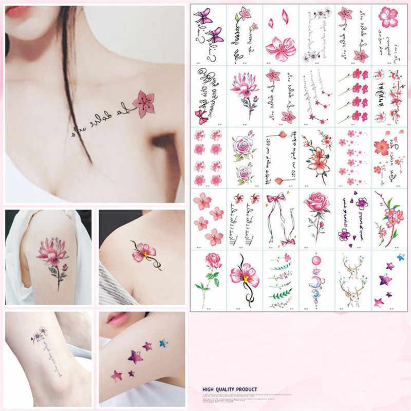 30pcs Set Fashion Waterproof Temporary Tattoos For Women Girl Cute Cartoon Body Art Diy Stickers Kids Tattoo Fake Tatoo Paper Aliexpress