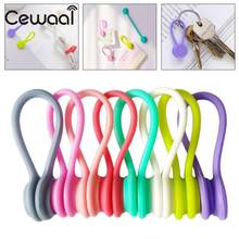 Cewaal Wholesale 1/80/400 Pcs/pack Silicone Soft Magneti Coil Earphone Cable Wire Winder Bobbin Hub Organizer 8 colors Hot(China)