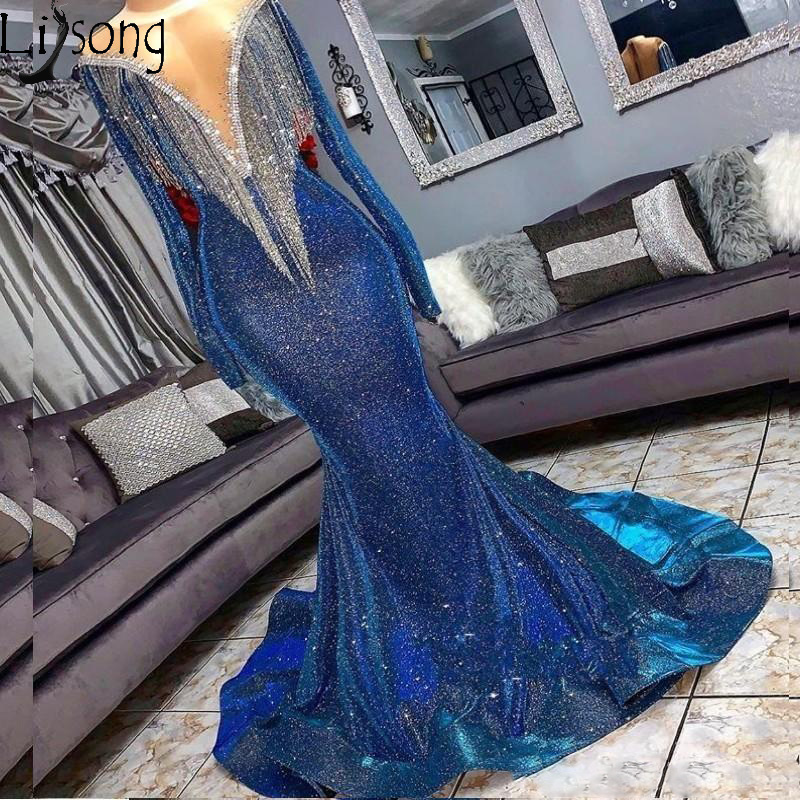 Reflective Sequins Mermaid   Prom     Dresses   Beads Sheer Neck Long Sleeves Evening Gowns With Tassels Sweep Train Formal Party   Dress