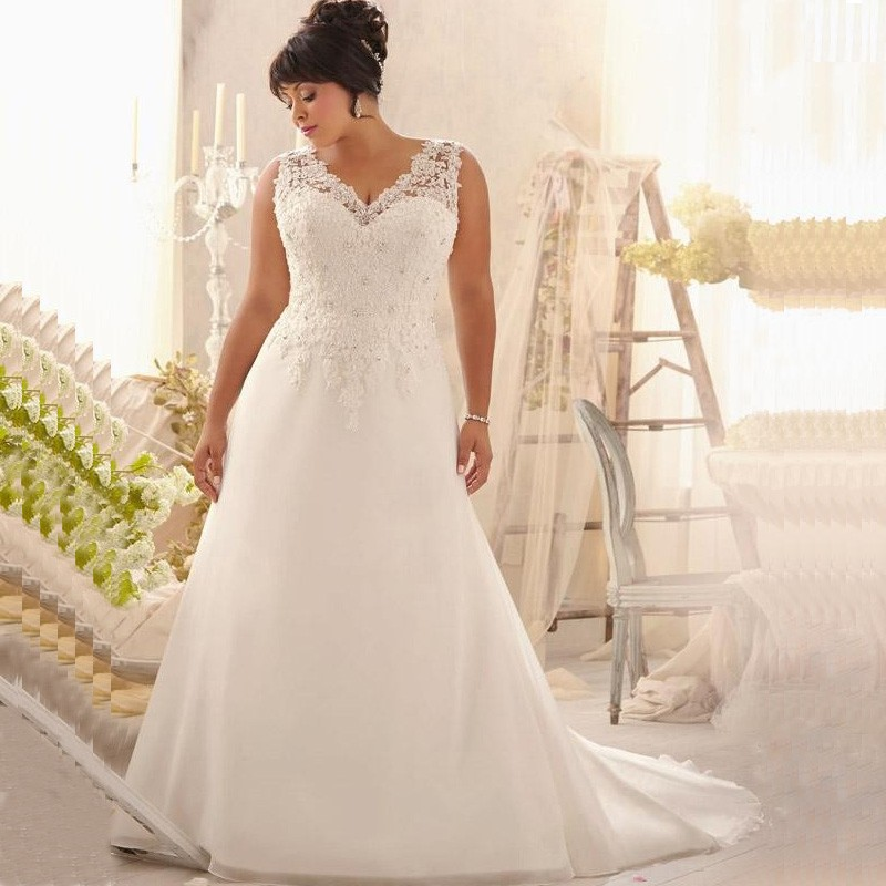 Buy 2017 elegant v neck plus size wedding for Plus size wedding dresses for cheap