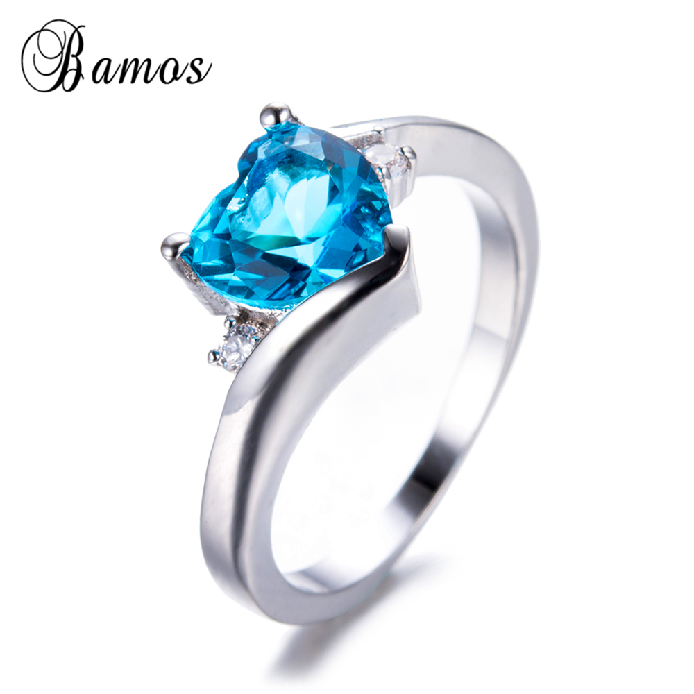 Bamos Fashion Light Blue Heart Rings For Women March Birthstone Aaa Zircon  Charming Ring White Gold Filled Engagement Jewelry