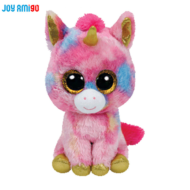 25cm/10inc TY Beanie Boos Wishful Unicorn Plush Toy With Big Eyes Rainbow Skin Stuffed Animal Middle Size  Best Gift new beanie boos scoop white snowman plush animals 6 15cm ty big eyes stuffed animal cute soft toys for children kids gifts