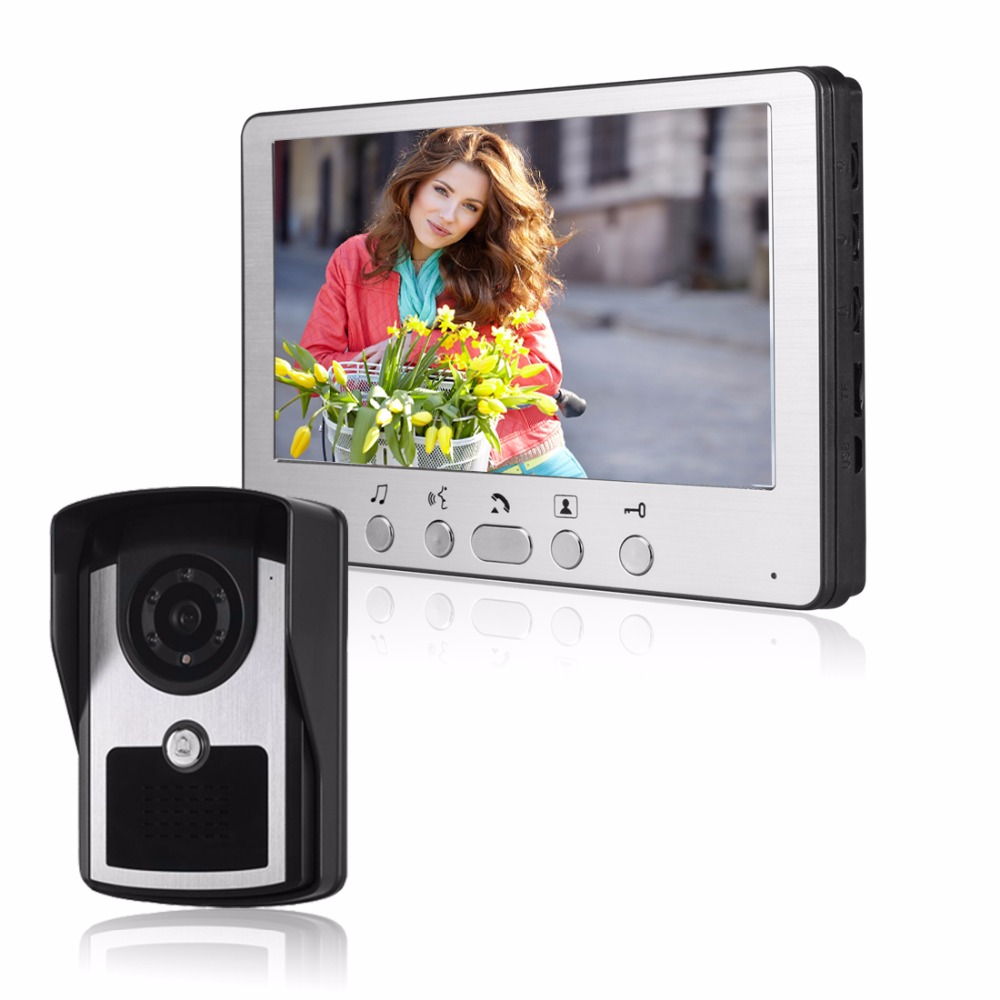 High Waterproof 7 TFT wired Video Door Phone Intercom Unlock Doorbell Home Security Camera Night Vision Visual Doorbell lcd wired video security doorphone camera tft screen video interphone infrared night vision doorbell intercom