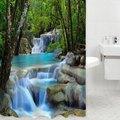 3D Cenário Cachoeira Cortina de Chuveiro À Prova D' Água Produtos de Banho Criativa Cortina De Banho De Poliéster cortina de bano com 12 Ganchos