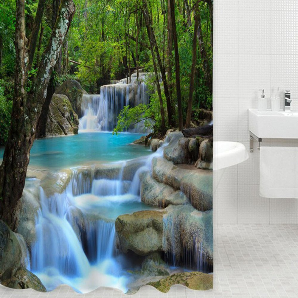 Natural shower curtain - 3d Waterfall Scenery Waterproof Shower Curtain Bathroom Products Creative Polyester Bath Curtain Cortina De Bano With 12 Hooks