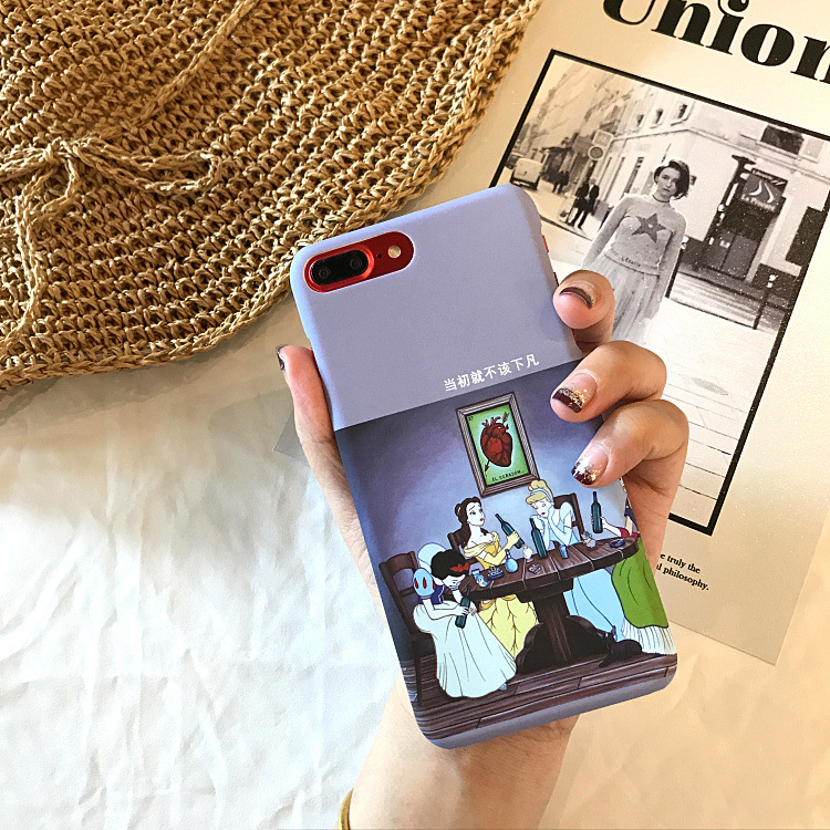 Fashion Retro Abstract Art Alice Princess Phone Case For iPhone 7 7 Puls 6 6S 7 8 Puls Cases Matte Hard Plastic Back Cover Coque