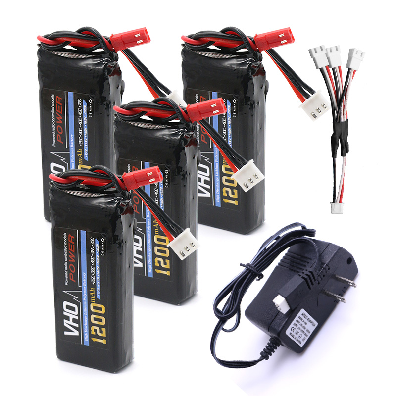 VHO 4pcs 7.4V 1200mAh Battery UL Charger 3 in 1 Cable For YiZhan Tarantula MJX X101 X102h JJRC X1 H16 WLtoys V666 V262 V353 3pcs battery and european regulation charger with 1 cable 3 line for mjx b3 helicopter 7 4v 1800mah 25c aircraft parts