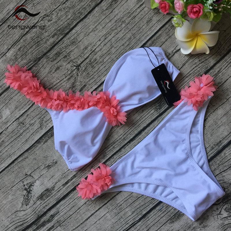 New Bikini 2017 Brazilian Swimwear Women Swimsuit Push up Floral Bikini Set Female Bandeau BathingSuit Maillot De Bain Beachwear