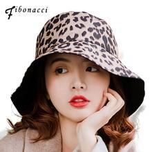 Fibonacci 2019 New Fashion Women Leopard Print Bucket Hat Outdoor Fisherman Cotton Sun Cap