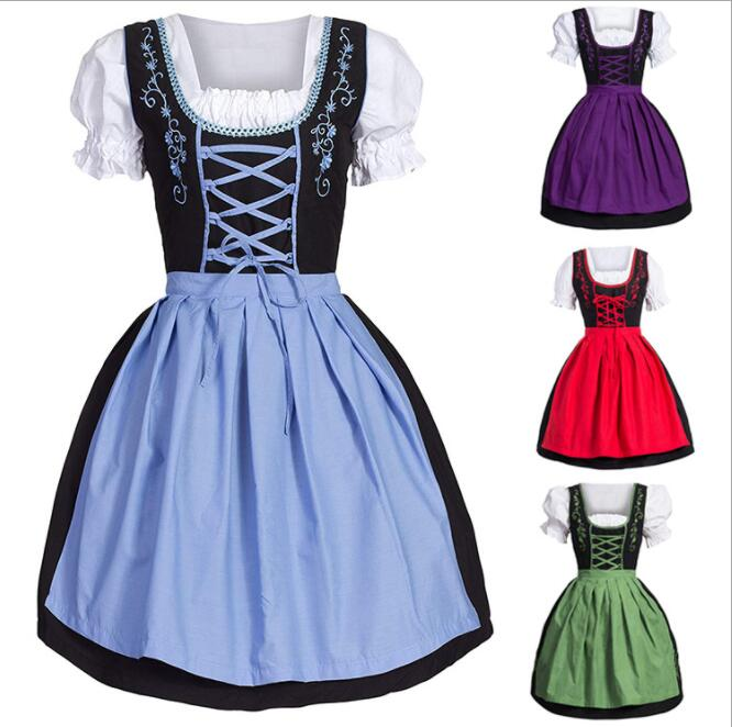Plus Size Women Medieval Costume Dress German Oktoberfest Dirndl Dress Cosplay Costume Party Dress M-5XL
