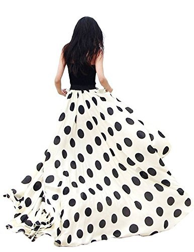 Customize Ladies Women's Fashion Plus Size 3XS-10XL Chiffon Polka Dot Print High Waist Summer Style Long Maxi Skirts Black/White