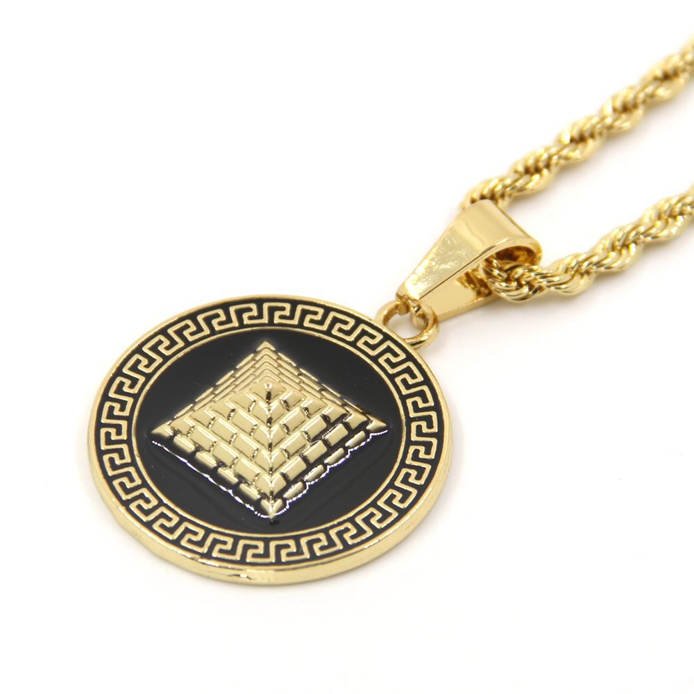 pendant style medallion diamond medusa gold versace mens