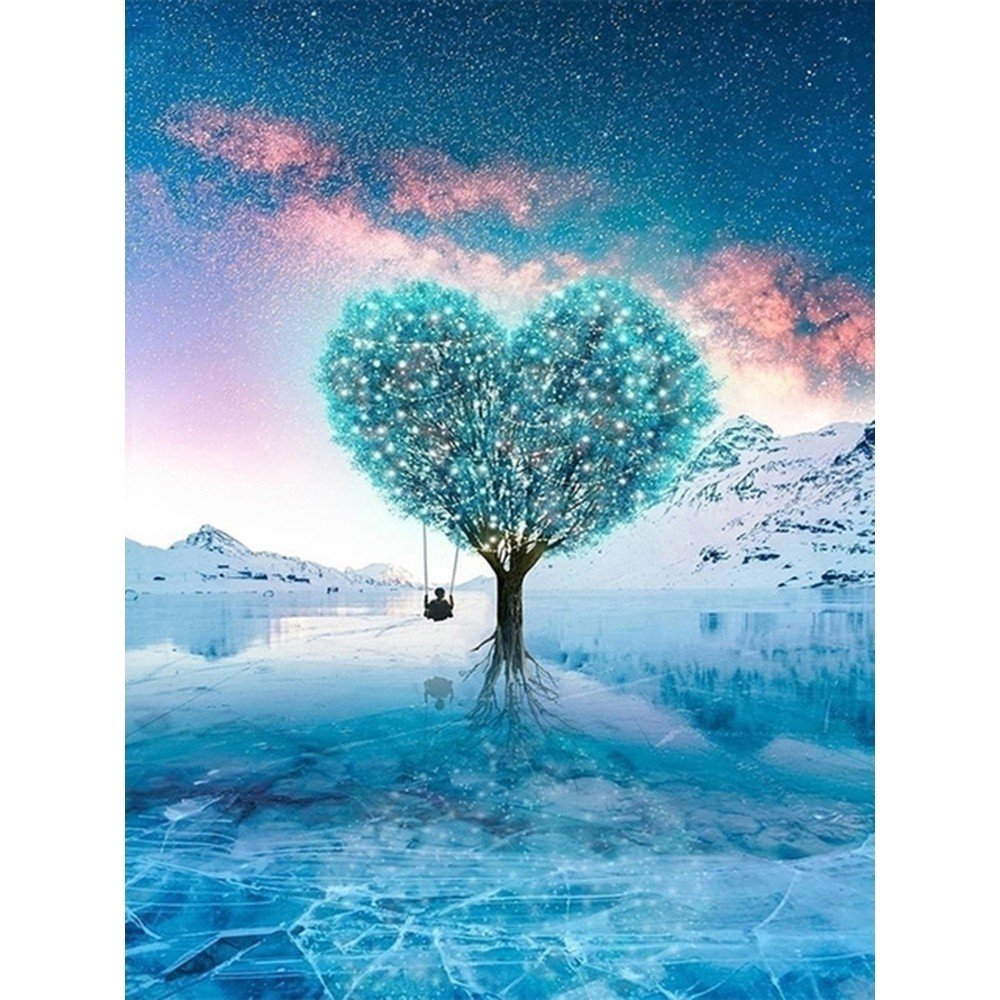 Landscape <font><b>Diamond</b></font> Embroidery Love Tree <font><b>5D</b></font> DIY <font><b>Diamond</b></font> <font><b>Painting</b></font> Cross Stitch <font><b>Winter</b></font> Full Square/Round Drill Decoration Home Gift image