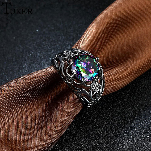 Multi-color Opal Ring Amethyst