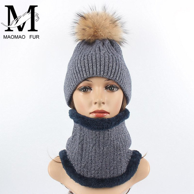 0007bdced55 Women Winter Hat And Scarf Set Warm Wool Knitted Hat Scarf For Girls High  Quality Big