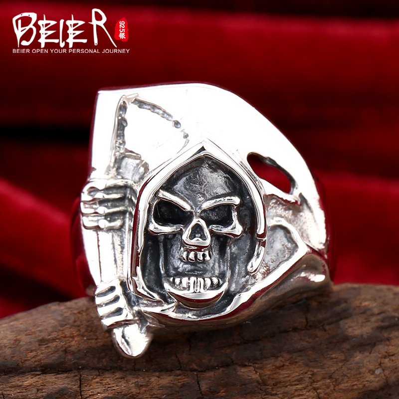 Beier 925 silver sterling jewelry 2015 new style punk skull modeling ring Bamboo man ring D1145 beier 925 silver sterling jewelry2015 punk animal ring hailand four hands inlaid gems elephant man ring d0711