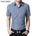 2017 New short sleeve shirt men 100% cotton Casual Brand plaid shirts men's dress shirt man summer short camisa masculino 4XL