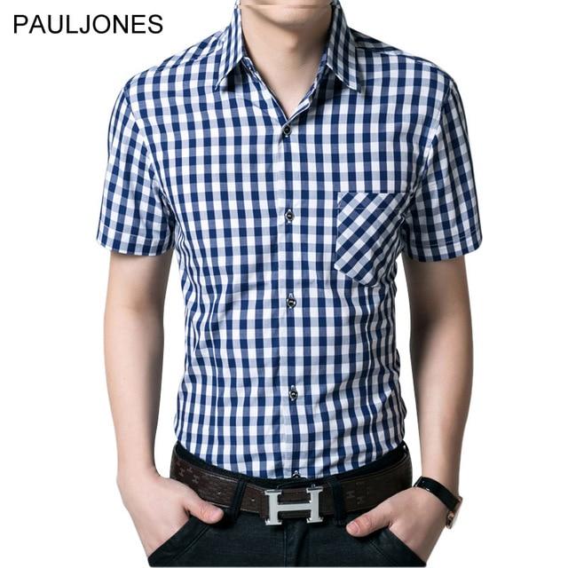 2a728591ffe9 2017 Nouvelle chemise à manches courtes hommes 100% coton Casual Marque  chemises à carreaux hommes. Passer la souris dessus pour zoomer