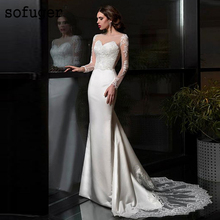 цена на Sofuge Satin Bateau Neckline Mermaid Wedding Dresses Lace Appliques Long Sleeves Bridal Robe De Mariee