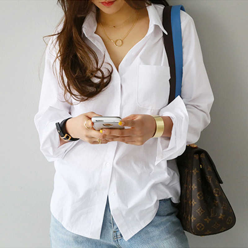 BGTEEVER Single Pocket White Women's Shirt Feminine Blouse Top Long Sleeve Casual Turn-down Collar OL Style Female Loose Blouses