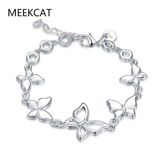 Meekcat lose money butterfly bracelet 925 stamped silver plated rose meekcat lose money butterfly bracelet 925 stamped silver plated rose charm pendant bracelet for women jewelry aloadofball Image collections