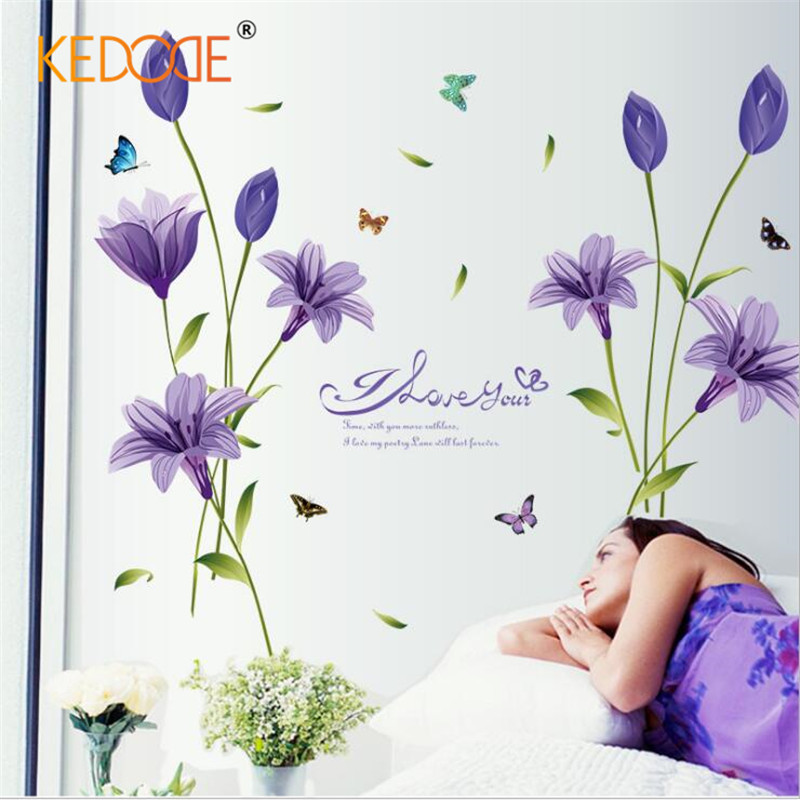 KEDODE Purple Lily Wall Sticker Warm and romantic DIY Can be removed Wallpaper TV Sofa ...
